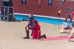 Pontevedra, Spain - September 3, 2016: Festival of medieval knights tournament. Image of Festival of medieval knights tournament, Pontevedra, Spain - September 3 Royalty Free Stock Photo
