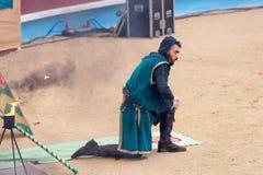 Pontevedra, Spain - September 3, 2016: Festival of medieval knights tournament. Image of Festival of medieval knights tournament, Pontevedra, Spain - September 3 Stock Image