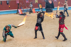 Pontevedra, Spain - September 3, 2016: Festival of medieval knights tournament Royalty Free Stock Images