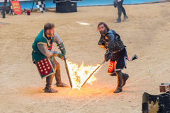 Pontevedra, Spain - September 3, 2016: Festival of medieval knights tournament. Image of Festival of medieval knights tournament, Pontevedra, Spain - September 3 Royalty Free Stock Photography