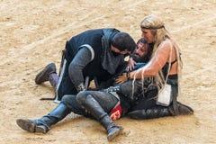 Pontevedra, Spain - September 3, 2016: Festival of medieval knights tournament Stock Images