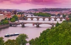 Ponti di Praga sul fiume della Moldava Fotografia Stock Libera da Diritti
