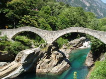 Ponti di Salti bridge Valle Versazca Switzerland Stock Photo