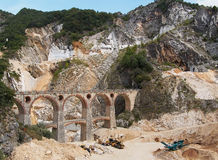 Ponti di Vara bridges - Carrara marble quarries, Italy Stock Images