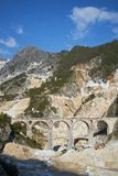 Ponti di Vara, Carrara. White marble quarry view, Ponti di Vara, Carrara, Tuscany, Italy Royalty Free Stock Photos