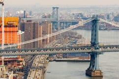 Ponti di Williamsburg e di Manhattan a New York, U.S.A. Immagini Stock Libere da Diritti