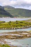Ponti a Fredvang in Lofoten Norvegia Fotografia Stock