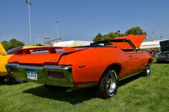 1968 Pontiac GTO restored car. YANKTON, SOUTH DAKOTA, August 19, 2107: The restored classic Pontiac 1968 GTO is displayed at the car show at Riverboat Days in stock image