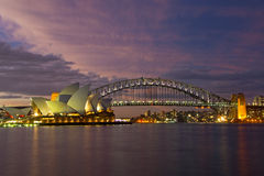 Ponticello & Teatro dell'Opera di porto di Sydney Fotografie Stock Libere da Diritti