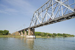 Ponticello attraverso il fiume Don Immagine Stock Libera da Diritti