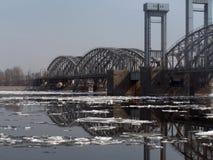 Ponticello attraverso il fiume Neva Immagine Stock