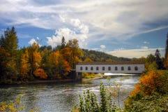 Ponticello coperto sopra il fiume Oregon di McKenzie immagini stock libere da diritti