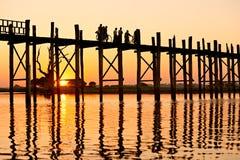 Ponticello del bein di U, Amarapura, Mandalay, Myanmar. Fotografie Stock Libere da Diritti