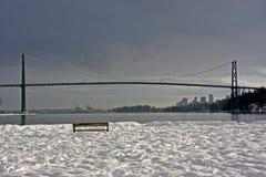 Ponticello del cancello dei leoni e Vancouver del centro Fotografia Stock