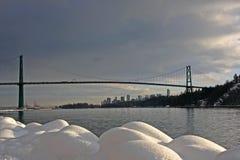 Ponticello del cancello dei leoni e Vancouver del centro fotografia stock libera da diritti