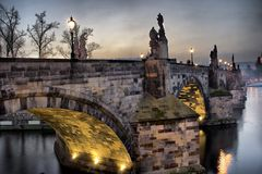 Ponticello del Charles a Praga Fotografie Stock Libere da Diritti