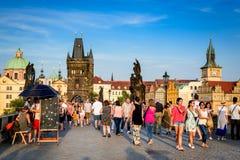 Ponticello del Charles, Praga, repubblica ceca Immagine Stock
