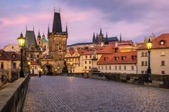 Ponticello del Charles, Praga, repubblica ceca Charles Bridge Karluv m. immagine stock
