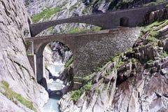 Ponticello del diavolo al passaggio della st Gotthard Immagini Stock Libere da Diritti