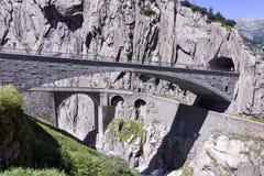 Ponticello del diavolo al passaggio della st Gotthard Fotografia Stock
