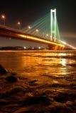 Ponticello del sud alla notte, Kiev, uA Immagine Stock