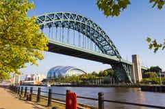 Ponticello del Tyne incorniciato con i fogli Fotografia Stock