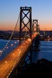 Ponticello della baia, San Francisco al tramonto Fotografie Stock