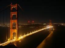 Ponticello di cancello dorato alla notte Fotografia Stock Libera da Diritti