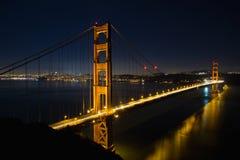 Ponticello di cancello dorato di San Francisco all'ora blu Fotografia Stock Libera da Diritti