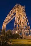 Ponticello di elevatore di Duluth Minnesota alla notte Fotografia Stock Libera da Diritti