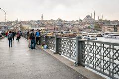 Ponticello di Galata a Costantinopoli, Turchia Fotografie Stock