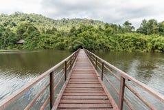 Ponticello di legno attraverso il fiume Fotografia Stock Libera da Diritti