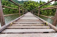 Ponticello di legno attraverso il fiume Fotografia Stock