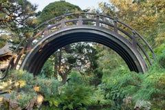 Ponticello di legno curvo al giardino giapponese Fotografie Stock Libere da Diritti