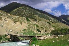 Ponticello di legno sopra il fiume della montagna fotografia stock