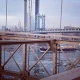Ponticello di Manhattan dal ponte di Brooklyn fotografia stock libera da diritti