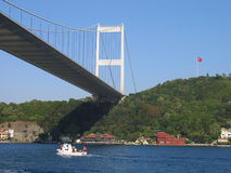 Ponticello di Mehmet del sultano di Fatih attraverso il Bosporus Tu Immagini Stock
