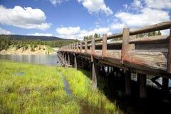 Ponticello di pesca della sosta nazionale del Yellowstone Fotografia Stock