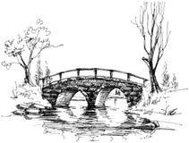 Ponticello di pietra sopra il fiume illustrazione vettoriale