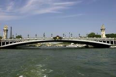 Ponticello di Pont Alexandre III sopra la senna Parigi Francia del fiume fotografie stock libere da diritti