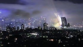 Ponticello di porto di Sydney - dopo i fuochi d'artificio 08/09 Immagine Stock