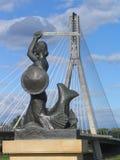 Ponticello di Swietokrzyski e della sirena a Varsavia, Polonia Fotografia Stock Libera da Diritti