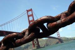 Ponticello e catena di cancello dorato Immagini Stock Libere da Diritti