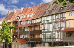 Ponticello Erfurt del fornitore navale con le case Half-timbered Fotografia Stock