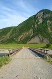 Ponticello Il fiume di Bashkaus entra fra le colline nelle montagne di Altai Altay Republic, Siberia, Russia Immagini Stock