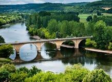 Ponticello sopra il fiume di Dordogne Fotografie Stock Libere da Diritti