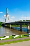 Ponticello sopra il fiume di Vistula Fotografie Stock Libere da Diritti