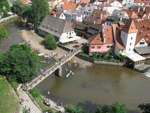 Ponticello sopra il fiume di Vltava Fotografia Stock
