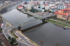 Ponticello sopra il fiume Elbe Immagine Stock Libera da Diritti
