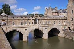 Ponticello storico di Pulteney nella città del bagno, Inghilterra Fotografia Stock Libera da Diritti